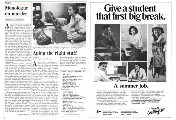 Article Preview: Aping the right stuff, April 1987 | Maclean's