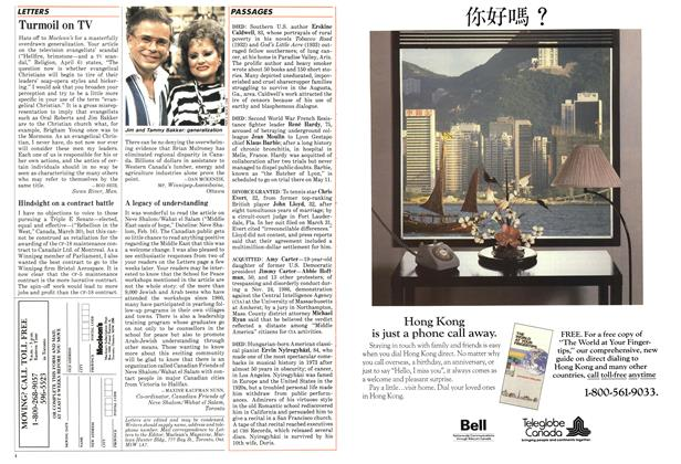 Article Preview: Turmoil on TV, April 1987 | Maclean's
