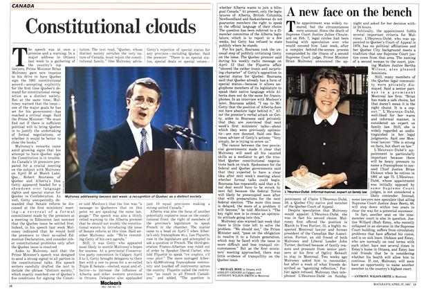 Article Preview: Constitutional clouds, April 1987 | Maclean's