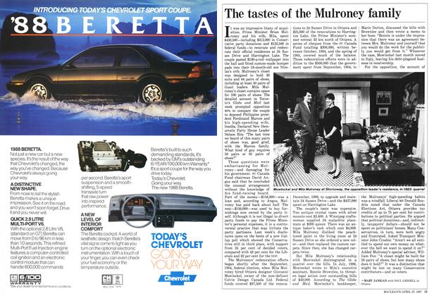 Article Preview: The tastes of the Mulroney family, April 1987 | Maclean's