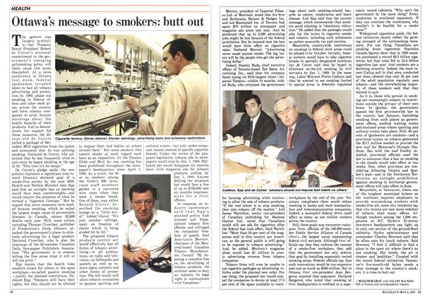 Article Preview: Ottawa's message to smokers: butt out, May 1987 | Maclean's