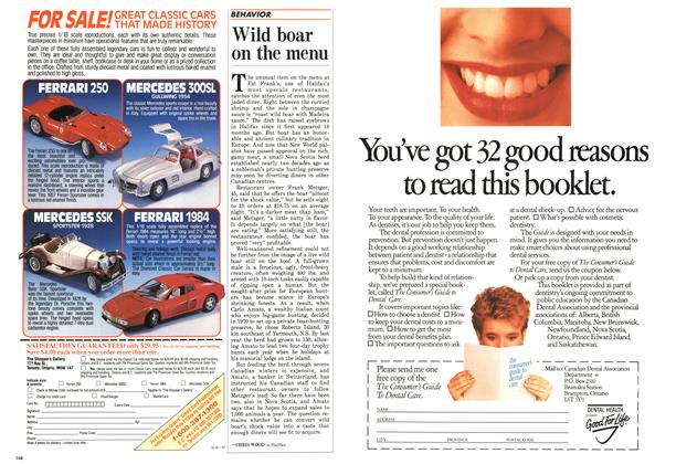 Article Preview: Wild boar on the menu, May 1987 | Maclean's