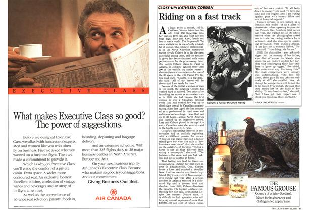 Article Preview: Riding on a fast track, May 1987 | Maclean's