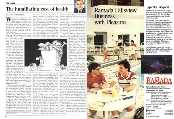 Article Preview: The humiliating cost of health, May 1987 | Maclean's