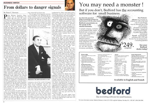 Article Preview: From dollars to danger signals, May 1987 | Maclean's