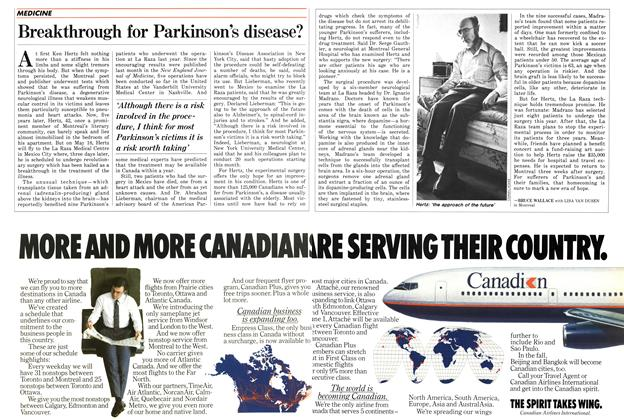Article Preview: Breakthrough for Parkinson's disease?, May 1987 | Maclean's