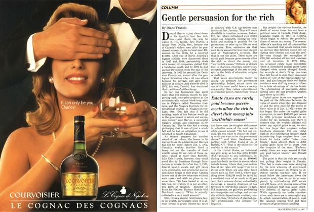 Article Preview: Gentle persuasion for the rich, June 1987 | Maclean's