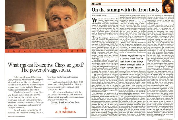 Article Preview: On the stump with the Iron Lady, June 1987 | Maclean's