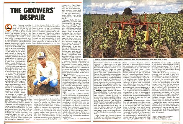 Article Preview: THE GROWERS' DESPAIR, June 1987 | Maclean's
