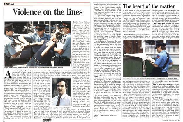 Article Preview: Violence on the lines, July 1987 | Maclean's