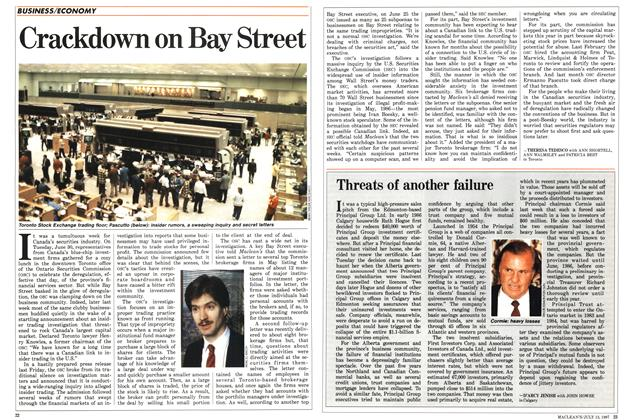 Article Preview: Crackdown on Bay Street, July 1987 | Maclean's