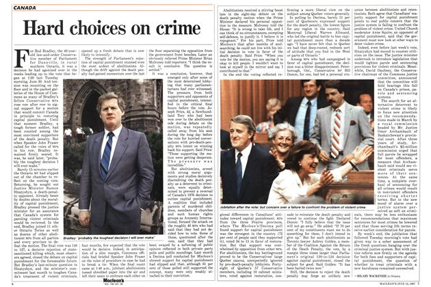 Article Preview: Hard choices on crime, July 1987   Maclean's