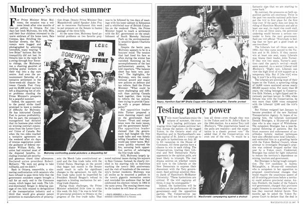 Article Preview: Testing party power, July 1987 | Maclean's