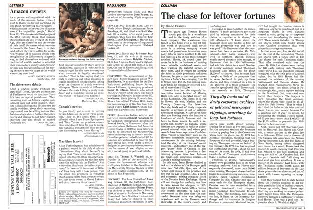 Article Preview: The chase for leftover fortunes, July 1987 | Maclean's