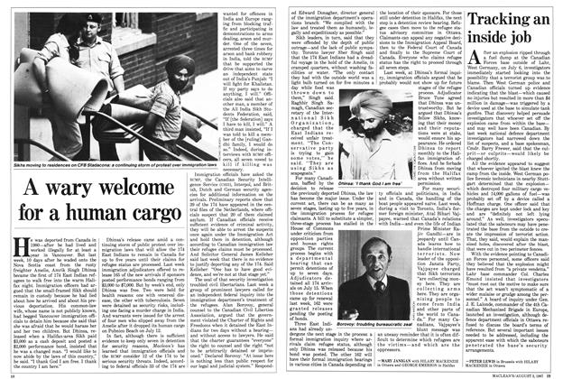 Article Preview: A wary welcome for a human cargo, August 1987 | Maclean's