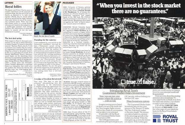 Article Preview: Royal follies, August 1987 | Maclean's