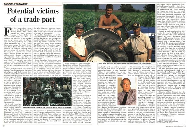 Article Preview: Potential victims of a trade pact, August 1987 | Maclean's