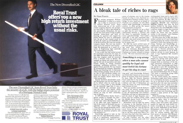 Article Preview: A bleak tale of riches to rags, August 1987 | Maclean's