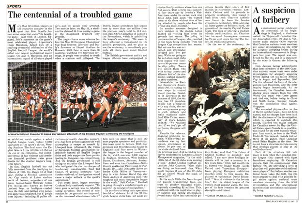 Article Preview: The centennial of a troubled game, August 1987 | Maclean's