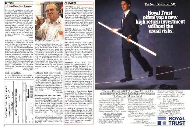 Article Preview: Broadbent's chance, August 1987 | Maclean's