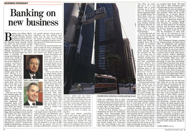 Article Preview: Banking on new business, August 1987 | Maclean's