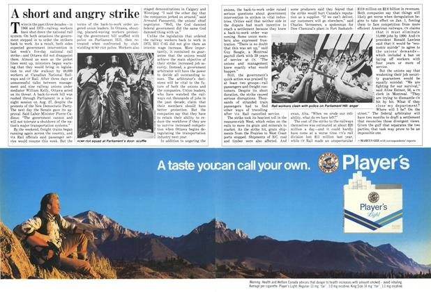 Article Preview: A short and angry strike, September 1987 | Maclean's