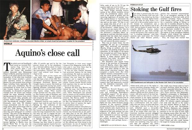 Article Preview: Aquino's close call, September 1987 | Maclean's