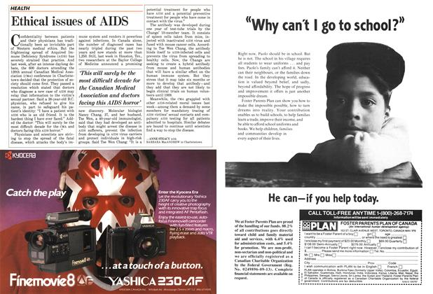 Article Preview: Ethical issues of AIDS, September 1987 | Maclean's
