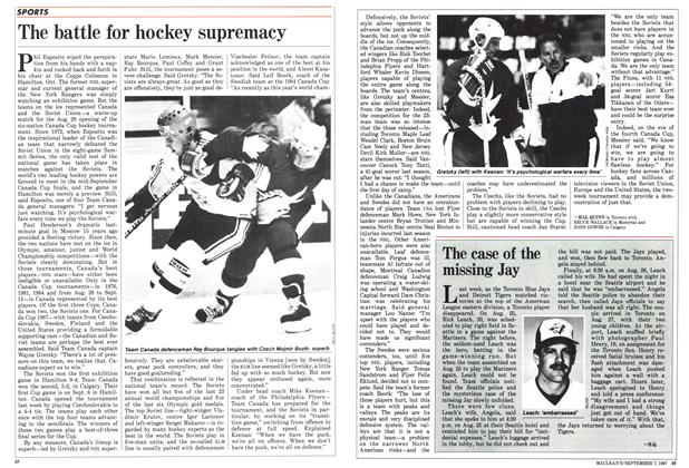 Article Preview: The battle for hockey supremacy, September 1987 | Maclean's