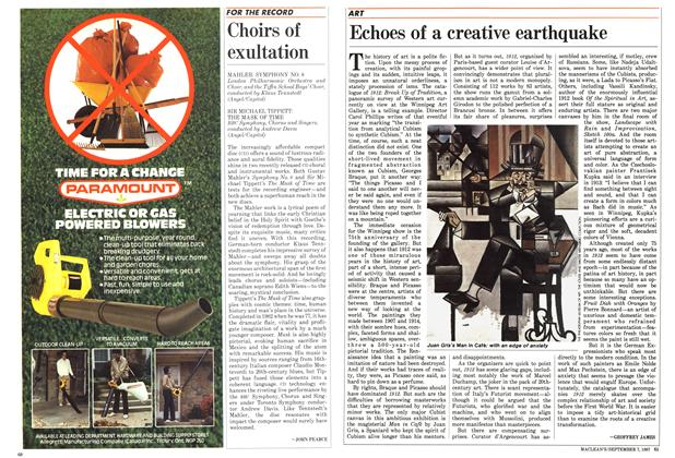 Article Preview: Echoes of a creative earthquake, September 1987 | Maclean's