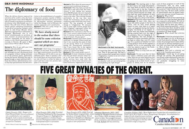 Article Preview: The diplomacy of food, September 1987 | Maclean's