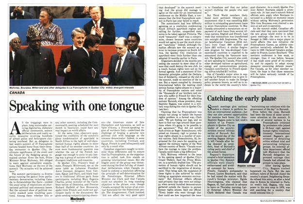 Article Preview: Speaking with one tongue, SEPTEMBER 14,1987 1987 | Maclean's