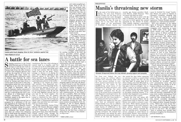 Article Preview: A battle for sea lanes, SEPTEMBER 14,1987 1987 | Maclean's