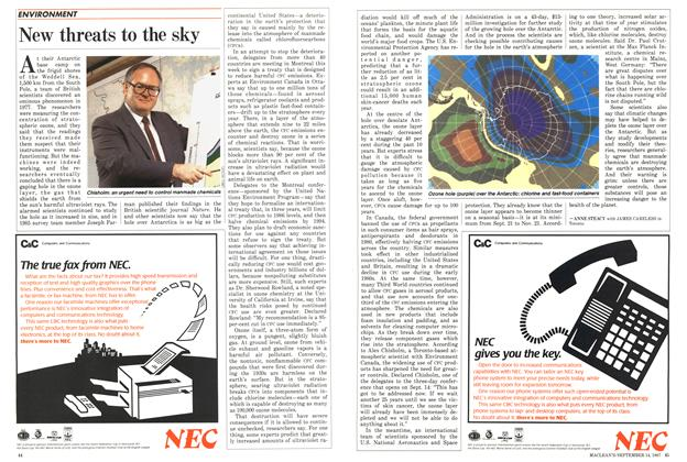 Article Preview: New threats to the sky, SEPTEMBER 14,1987 1987 | Maclean's
