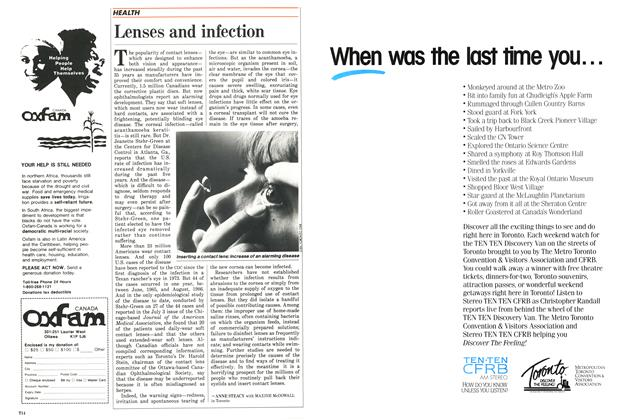 Article Preview: Lenses and infection, SEPTEMBER 14,1987 1987 | Maclean's