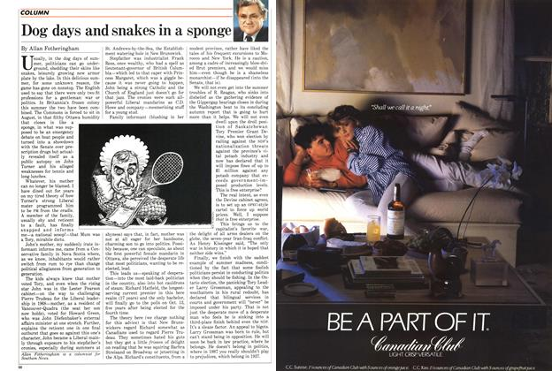 Article Preview: Dog days and snakes in a sponge, SEPTEMBER 14,1987 1987 | Maclean's