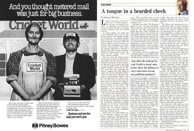 Article Preview: A tongue in a bearded cheek, September 1987 | Maclean's