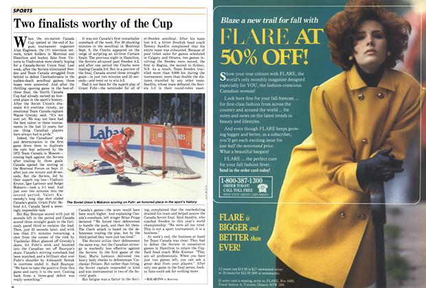 Article Preview: Two finalists worthy of the Cup, September 1987 | Maclean's