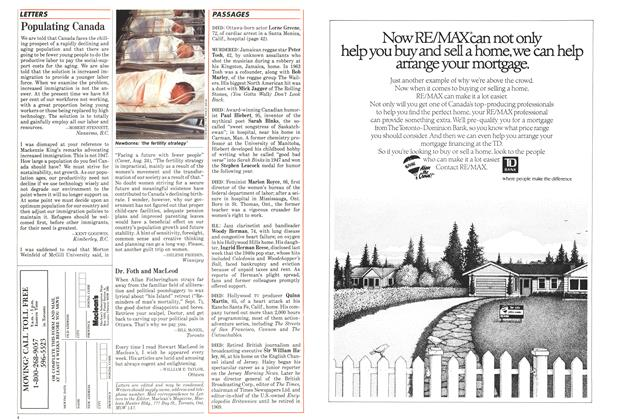 Article Preview: letters, September 1987 | Maclean's
