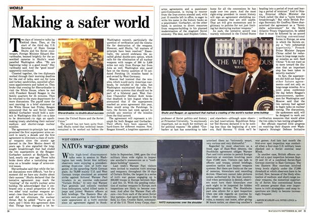 Article Preview: Making a safer world, September 1987 | Maclean's