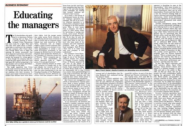 Article Preview: Educating the managers, September 1987 | Maclean's