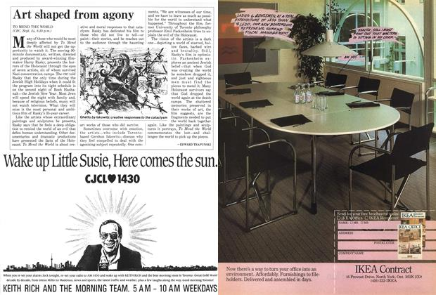 Article Preview: Art shaped from agony, September 1987 | Maclean's