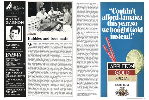 Article Preview: Bubbles and beer mats, September 1987 | Maclean's