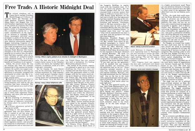Article Preview: Free Trade: A Historic Midnight Deal, October 1987 | Maclean's