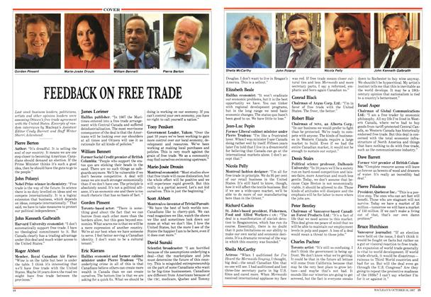 Article Preview: FEEDBACK ON FREE TRADE, October 1987 | Maclean's