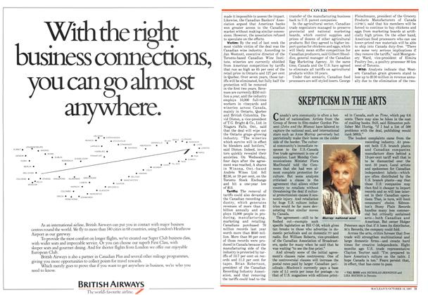 Article Preview: SKEPTICISM IN THE ARTS, October 1987 | Maclean's