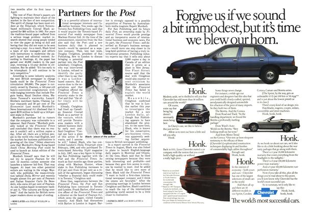 Article Preview: Partners for the Post, October 1987 | Maclean's