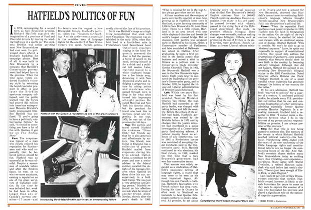 Article Preview: HATFIELD'S POLITICS OF FUN, October 1987 | Maclean's