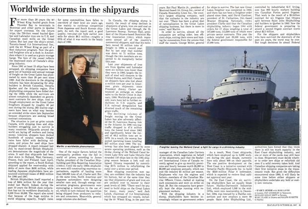 Article Preview: Worldwide storms in the shipyards, October 1987 | Maclean's