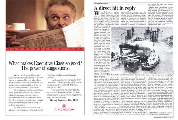 Article Preview: A direct hit in reply, November 1987 | Maclean's